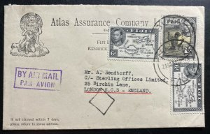 1951 Suva Fiji Atlas Insurance Company Airmail Cover To London England Sc#128