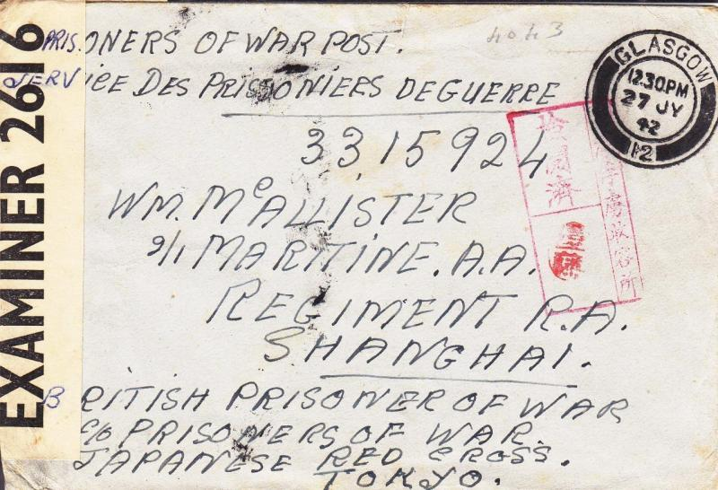 POW Mail, Glasgow, Scotland, 1942, See Remark (C1609)