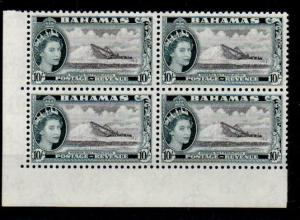 BAHAMAS SG215 1954 10/= BLACK & SLATE-BLACK CNR BLK OF 4 MNH