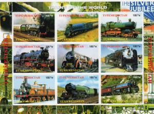 Turkmenistan 1998  Trains of the World Sheetlet (9) Perforated MNH VF