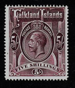 Falkland Islands Sc 38 Original Gum Hinged 1914 KGV 5sh Plum