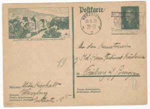 Germany Postal Card Michel #P187 used Wurzburg cancel