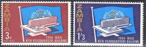 ZAMBIA  #26+27  MH  1966  WHO HEADQUARTERS SEE SCAN
