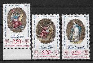 St.Pierre & Miquelon 1989, French Revolution, Scott # 514-516,VF MNH**OG (SL-1)