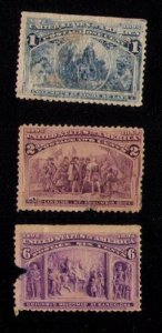 US Sc 230-231,235 MH WITH FAULTS (THREE STAMPS TOTAL) F-VF