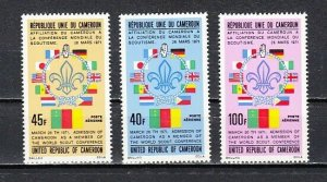 Cameroon, Scott cat. C202-C204. World Scout Conference issue.  LH
