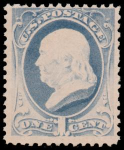 US 1881 1c GRAY BLUE MNH #206 and attractive with perfect gum ex. Southwest C...