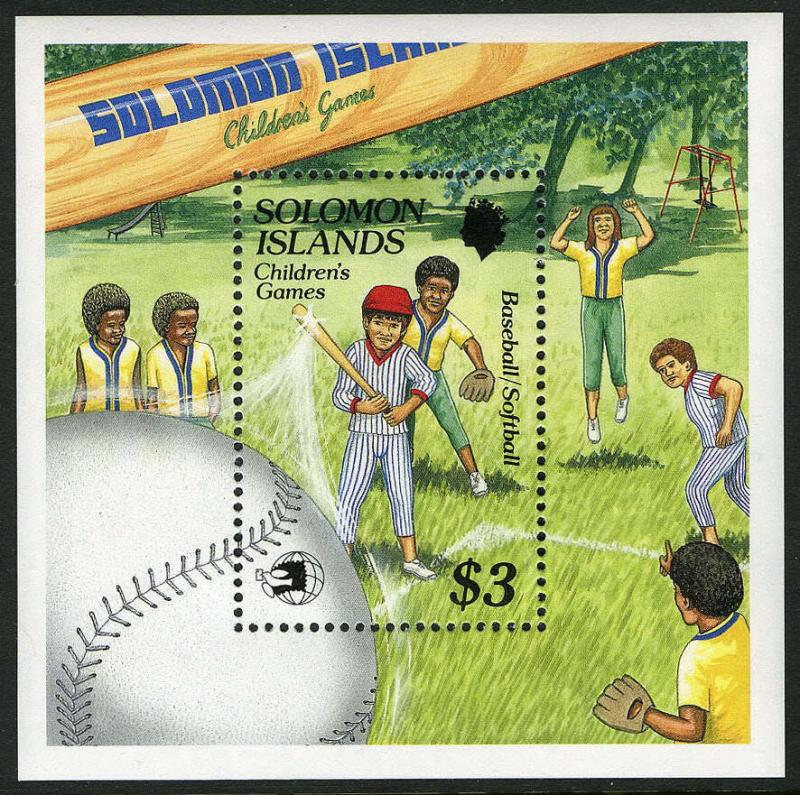 Solomon Islands 652 S/S, MI 717 Bl.28, MNH. Children's games, Baseball, 1989