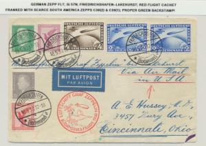GERMANY-LAKEHURST 1930 ZEPPELIN COVER,SOUTH AMERICA 4M+2M(2)ZEPS Si#57N GREEN BS