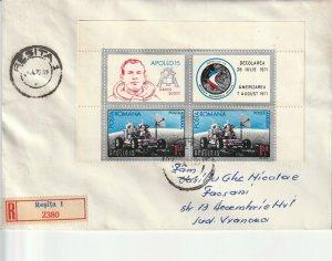 ROMANIA COVER 1972 COSMOS APOLLO 15 SPACE TRAVEL USED POST RECORDED DAVID SCOTT