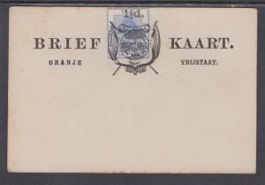 Orange Free State H&G 9 mint 1892 1½p surcharge on 3p blue Formula Card