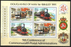 Isle Of Man. 1991. bl 16. Train, history. MNH.