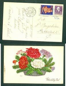 Denmark. Postcard 1935. Faaborg. 7 Ore + Seal. 24 Dec. Copenh. Flowers. Copenh.