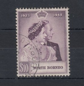 North Borneo KGVI 1948 $10 Silver Wedding SG351 VFU J7467