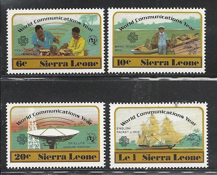 Sierra Leone #591-4 comp mnh Scott cv $1.85 Communications Year