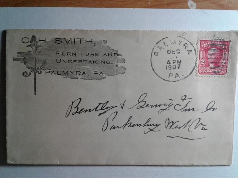 SCOTT # 319 AMERICAN POSTAL HISTORY ADVERTISEMENT 1907
