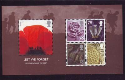Great Britain Sc 2530a 2007 Passchendaele sheet mint  NH