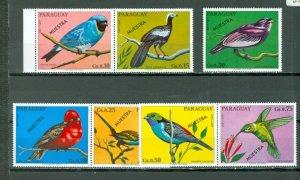 PARAGUAY BIRDS 1973...OVPT  MUESTRA...SET...MNH...