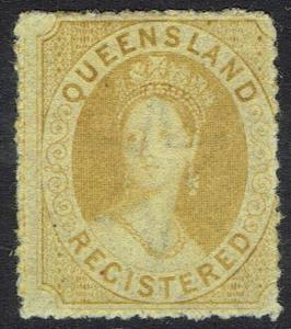 QUEENSLAND 1864 QV CHALON REGISTERED WMK SMALL STAR