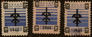 Germany NSDAP 1942-44 Gau Essen 20pf Dues Revenue Stamp 96235