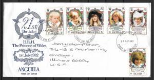 Anguilla 485-91 Diana 21st Birthday FDC used to USA