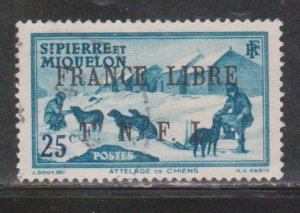 ST PIERRE & MIQUELON Scott # 229 Used 2 -  With France Libre FNFL Overprint