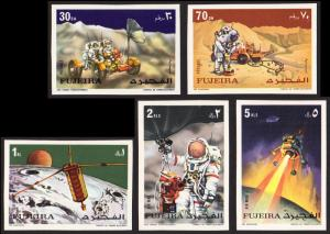 Fujeira Mi #833B-837B set/5 mnh - 1972 space - Apollo 15 - imperf
