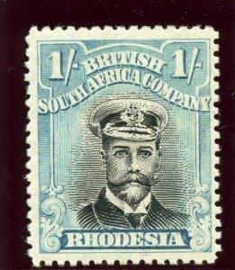 Rhodesia 1913 KGV Admiral 1s black & dull blue MLH. SG 317.