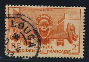 A.O.F. / SENEGAL - 1953 - CAD LOUGA / SENEGAL SUR Yv. 33 2fr ORANGE BAMAKO