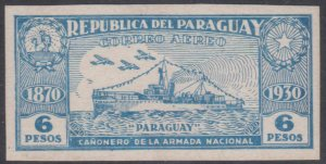 PARAGUAY 1931 GUNBOAT Sc C47 IMPERF PLATE PROOF ULTRA ON CHALKY SURFACE CARD