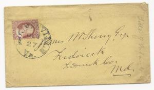 US 19th Century Cover Scott #25 Moundsville, VA October 27, 1850's