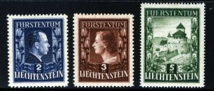 LIECHTENSTEIN 1951-52 Redrawn Royal Family & Vaduz Castle Set SG 302 to SG 304