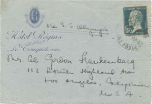 France 1.50F Pasteur 1930 Letter Card No Selvedge to Los Angeles, Calif. with...