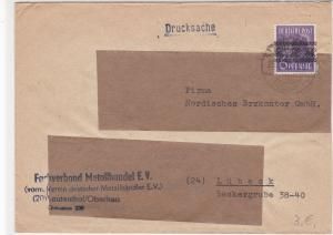 Germany Lautenthal 1948 Metal Trade Allied Occ. Stamps Cover to Lubeck Ref 32331