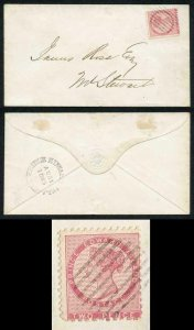 PRINCE EDWARD Is SG22 1862 2d rose compound perf of 11 and 11.5-12 on Cover
