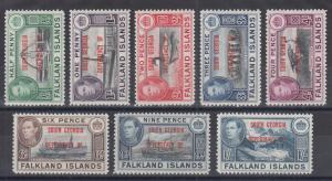 Falkland Islands Dependency, South Georgia, Sc 3L1-3L8 MLH. 1944 red ovpts cplt.