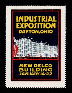 POSTER STAMP INDUSTRIAL EXPOSITION DAYTON OHIO - NEW DELCO BUILDING 1916 MNH-OG