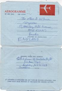Australia 1969 10c Aerogramme Sydney-Amersham UK Fair Condition