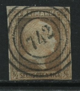 Prussia 1859 1/2 sg orange used with perfect numeral 742