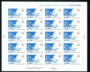 US #3995 Full Mint 2006 OLYMPIC WINTER GAMES Torine Italy 39¢
