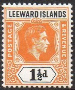 Leeward Islands 1949 1½d yellow-orange and black MH