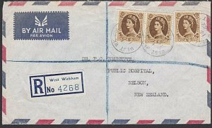GB 1962 Registered airmail cover to NZ -....................................J355