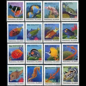 MARSHALL IS. 1988 - Scott# 168-83 Fish 1c-$5 NH perf.toned