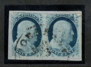 USA #9 Used Pair On Cover Piece