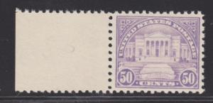 US Sc 570 MNH. 1922 50c Amphitheatre Sheet Margin Single, Cert