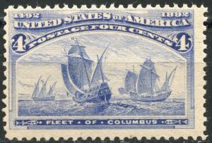 UNITED STATES 4c COLUMBIAN SCOTT#233  F/VF  NEVER HINGED--SCOTT VALUE $160.00