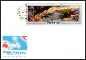 Penrhyn Island 335a Halley's Comet Souvenir Sheet U/A FDC