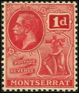Montserrat SC# 57  KGV 1d wmk 4