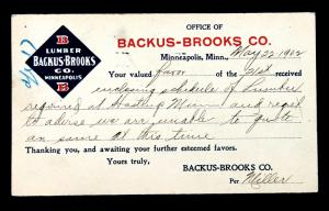 US Postal Card Sc# UX14 Preprinted Advertising for Backus-Brooks Co. 1902