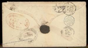 USA 1860 New York Forwarding Agent Cover Transatlantic 92154